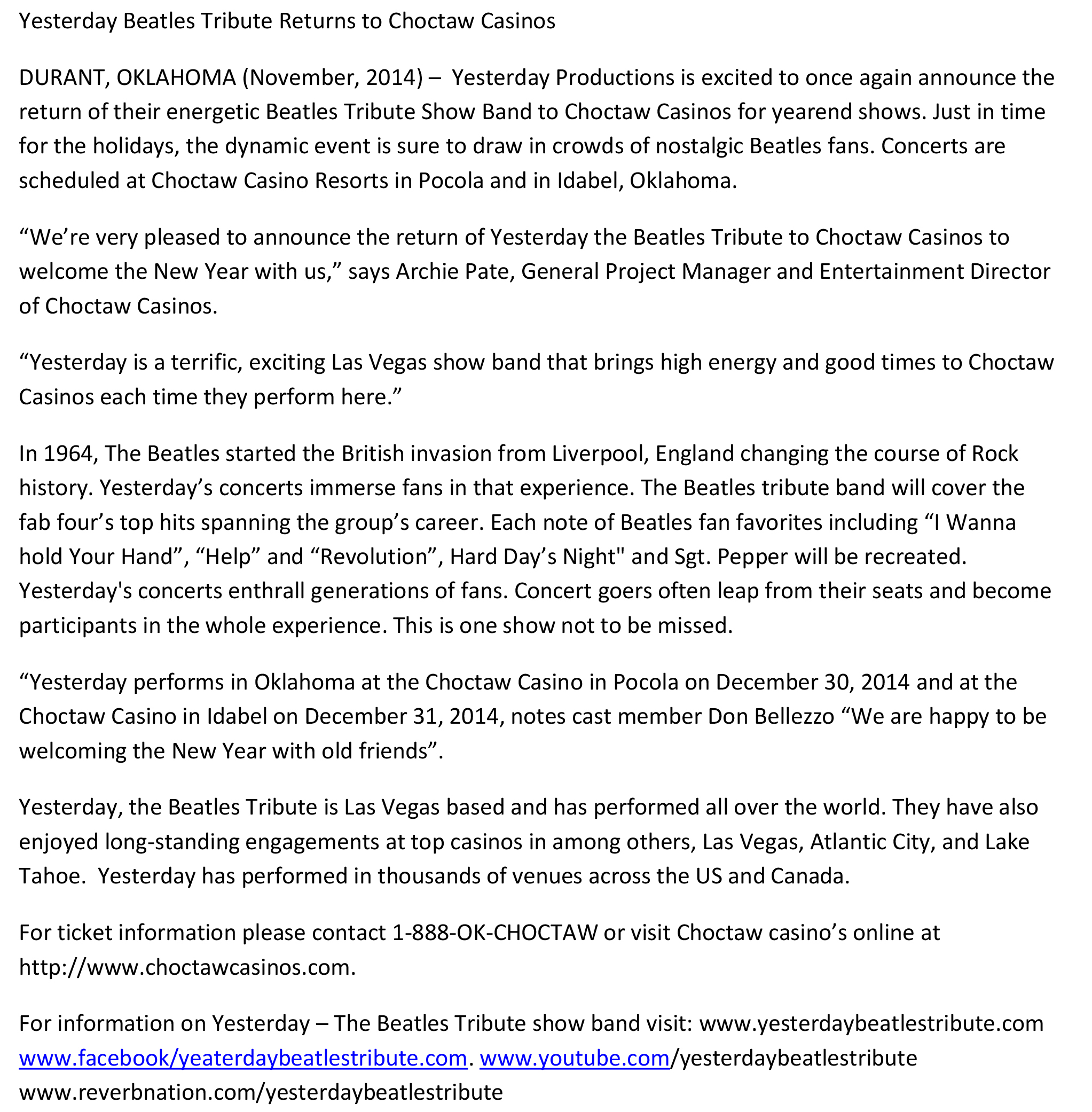 Yesterday press releases beatles tribute band for Band press release template